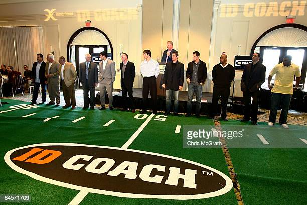 Players and coaches wait to test out the ID Coach at the launch of the Isaac Daniel, ID Coach at the Sheraton Riverwalk on January 31, 2009 in Tampa,...