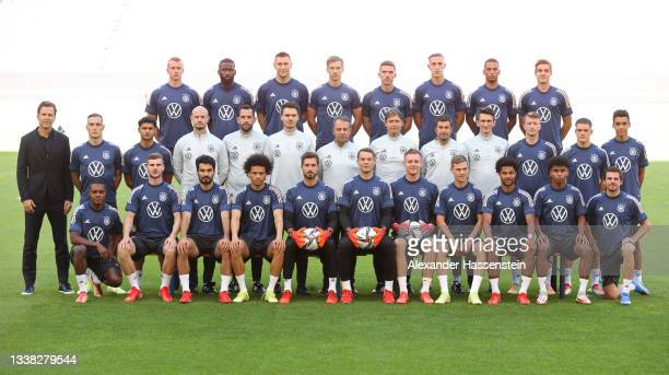 Players and coaching staff of Germany pose for a team photograph at Mercedes-Benz Arena on September 04, 2021 in Stuttgart, Germany.