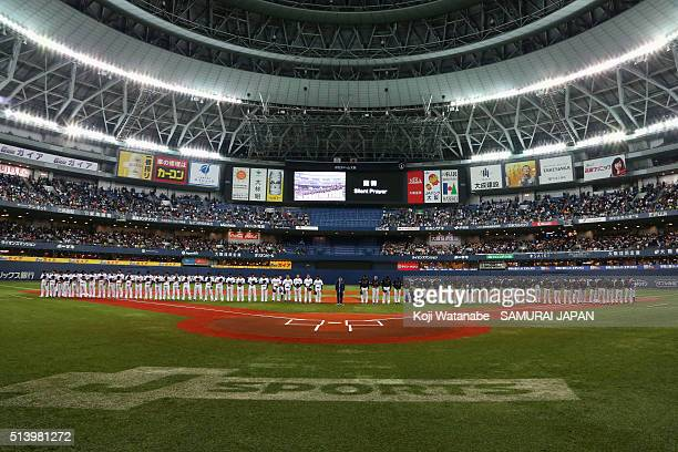 Players and coaching staffs observe a minute of silence for the victims of the Great East Japan Earthquake firve years ago and the Tainan Earthquake...