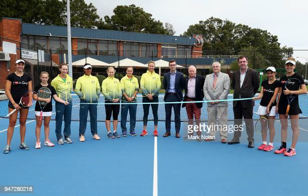 Players and dinatories pose for a photo during a media opportunity ahead of the Australia v Netherlands Fed Cup World Group Playoff at Wollongong...
