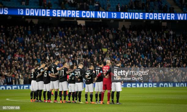 Players and fans of both teams respect a minute silence before the match in memory of Davide Astori before the International Friendly match between...