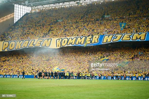 Players and fans of Brondby IF celebrate after the Danish Cup Final DBU Pokalen match between Brondby IF and Silkeborg IF at Telia Parken Stadium on...