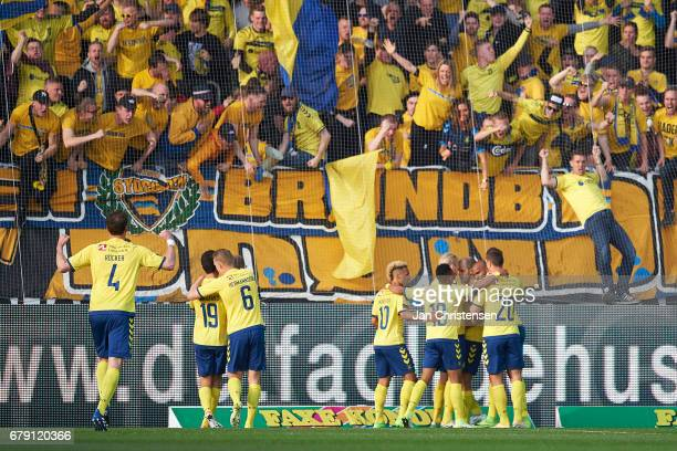 Players and fans of Brondby IF celebrates the 11 goal from Teemu Pukki during the Danish Cup DBU Pokalen semifinal match between FC Midtjylland and...