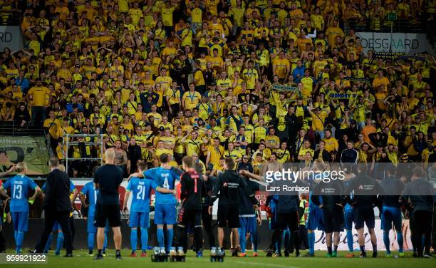 Players and Fans of Brondby IF looking dejected after the Danish Alka Superliga match between AC Horsens and Brondby IF at CASA Arena Horsens on May...