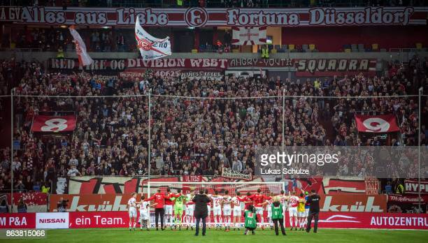 Players and fans of Duesseldorf celebrate their win during the Second Bundesliga match between Fortuna Duesseldorf and SV Darmstadt 98 at EspritArena...