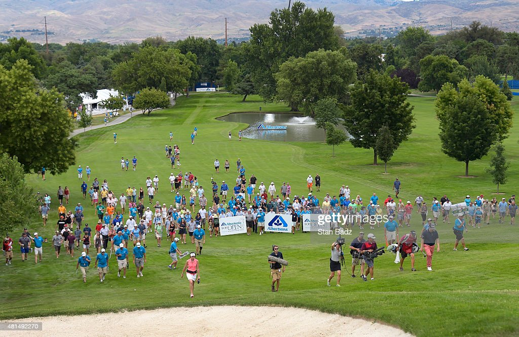 Players and fans walk uphill on the 18th fairway during the final round of the Web.com Tour Albertsons Boise Open presented by Kraft Nabisco at Hillcrest Country Club on July 12, 2015 in Boise, Idaho.