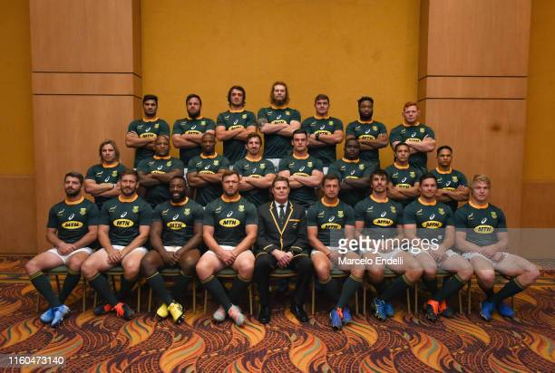 Players and head coach of South Africa pose for the official team photo during South Africa Media Day at Alejandro I Hotel on August 9 2019 in Salta...