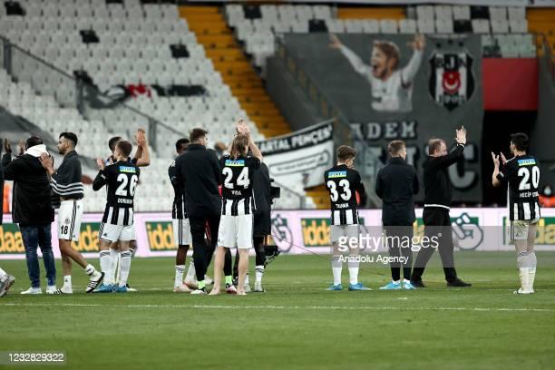 Players and head coach Sergen Yalcin of Besiktas greet the fans at the end of Turkish Super Lig week 41 soccer match between Besiktas and Fatih...