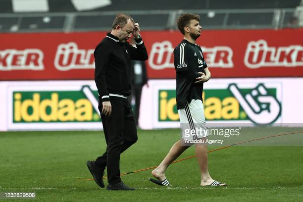 Players and head coach Sergen Yalcin of Besiktas leave the pitch at the end of Turkish Super Lig week 41 soccer match between Besiktas and Fatih...