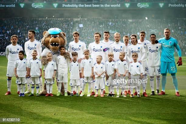 Players and mascots of FC Copenhagen prior to the Danish Cup DBU Pokalen match between FC Copenhagen and Brondby IF in Telia Parken Stadium on...