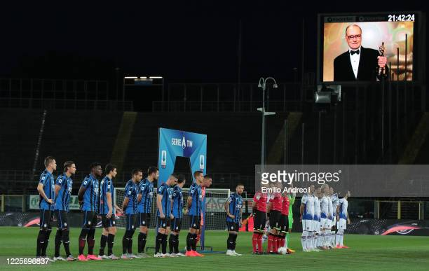 Players and match officials line up to pay their tribute to Ennio Morricone prior to the Serie A match between Atalanta BC and UC Sampdoria at Gewiss...