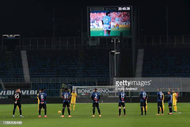 Players and Officials observe a minute of silence prior to kick off in memory of Diego Maradona during the Serie A match between Atalanta BC and...