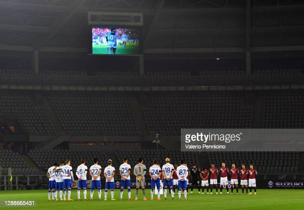 Players and Officials observe a minute of silence prior to kick off in memory of Diego Maradona during the Serie A match between Torino FC and UC...