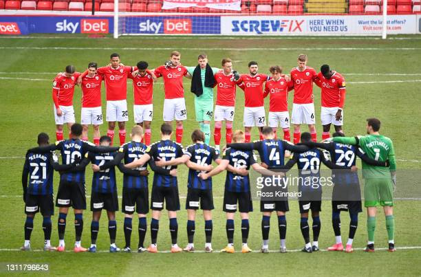 Players and officials observe a two minute silence in memory of HRH Prince Phillip, The Duke of Edinburgh who passed away recently prior to during...