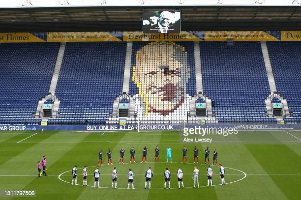 Players and officials observe a two minute silence in memory of HRH Prince Phillip, The Duke of Edinburgh who passed away recently prior to the Sky...