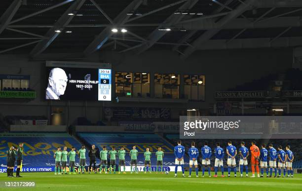 Players and Officials observe a two minute silence in memory of HRH Prince Phillip, The Duke of Edinburgh who passed away recently prior to the...