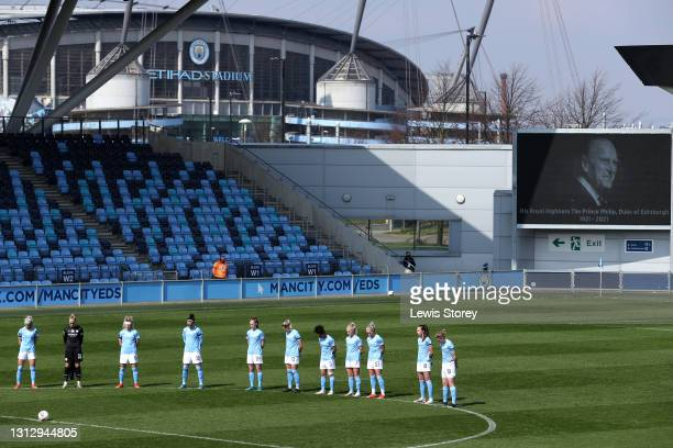 Players and Officials observe two minutes of silence prior to kick off in memory of Prince Philip, Duke of Edinburgh during the Vitality Women's FA...