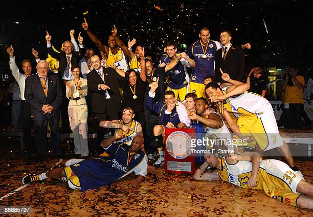 Players and officials of Oldenburg celebrate their national championship after the Basketball Bundesliga PlayOff match between EWE Baskets Oldenburg...