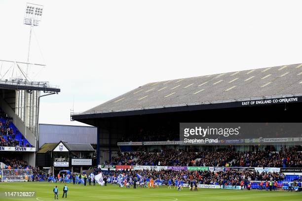 Players and Officials walk out during the Sky Bet Championship match between Ipswich Town and Leeds United at Portman Road on May 05 2019 in Ipswich...