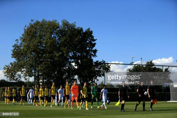 Players and officials walk out during the UEFA Youth Champions League group H match between Tottenham Hotspur and Borussia Dortmund on September 13...