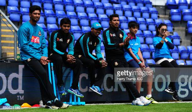 Players and pupils look on during the ICC Champions Trophy Cricket for Good Bangladesh event at the SWALEC Stadium on June 7 2017 in Cardiff Wales