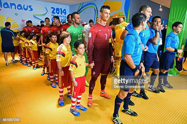 Players and referees are seen in the tunnel prior to the 2014 FIFA World Cup Brazil Group G match between USA and Portugal at Arena Amazonia on June...