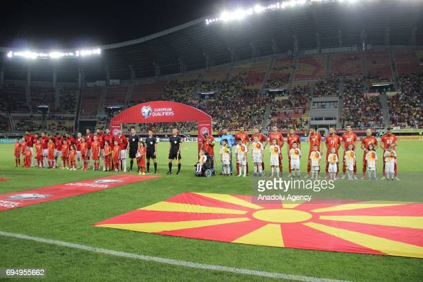 Players and referees line up ahead the FIFA 2018 World Cup Qualifiers Group G match between Macedonia and Spain at Philip II Arena in Skopje...