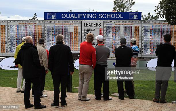 Players and spectators look along the main scoreboard to see who has made the four round cut during the fourth round of the European Tour Qualifying...