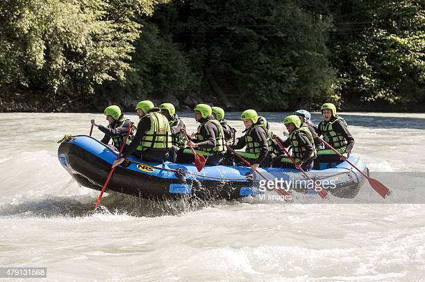 Players and staff of Ajax went rafting during the training camp of Ajax Amsterdam on July 1 2015 at Neustift im Stubaital Austria