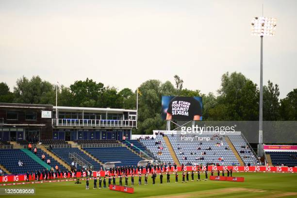 Players and Staff of England and Sri Lanka stand for a Moment of Unity ahead of the T20 International Series First T20I match between England and Sri...