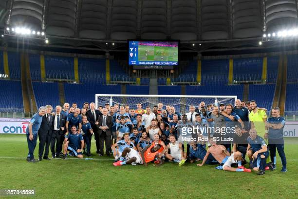 Players and staff of Lazio celebrate their qualification to the Champions League qualification after the Serie A match between SS Lazio and Cagliari...