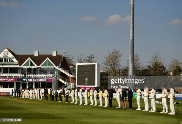 Players and Staff of Somerset and Gloucestershire line up for a minutes silence in Memory of HRH Prince Philip, Duke of Edinburgh during Day Three of...