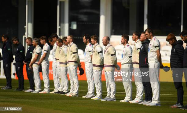 Players and Staff of Somerset line up for a minutes silence in Memory of HRH Prince Philip, Duke of Edinburgh during Day Three of the LV= Insurance...
