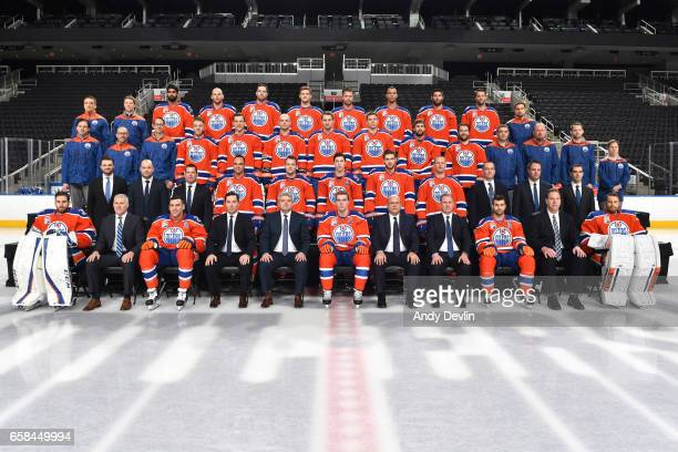 Players and staff of the Edmonton Oilers pose for the official 201617 Edmonton Oilers NHL Team Photo on March 27 2017 at Rogers Place in Edmonton...