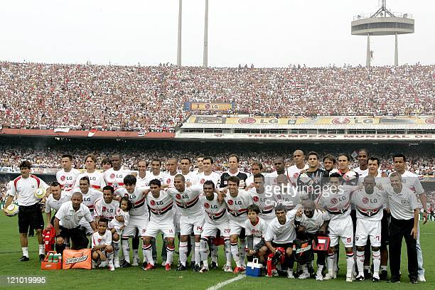 Players and staff of the new Brazilian champions FC Sao Paulo.