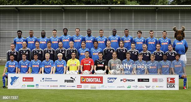 Players and team members of German first division Bundesliga football club TSG Hoffenheim pose for a group picture during the team presentation on...