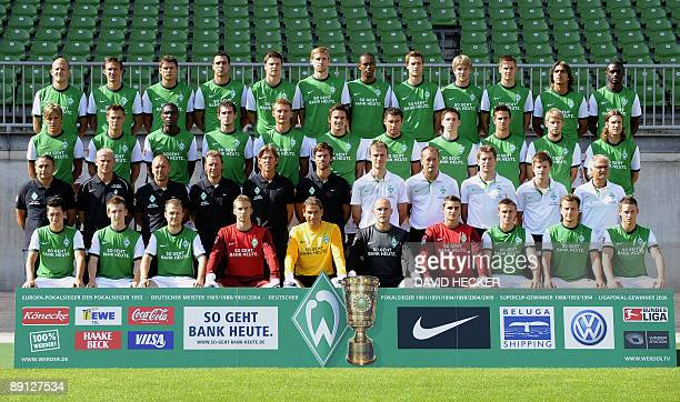 Players and team members of German first division Bundesliga football club Werder Bremen pose for a group picture during the team presentation on...