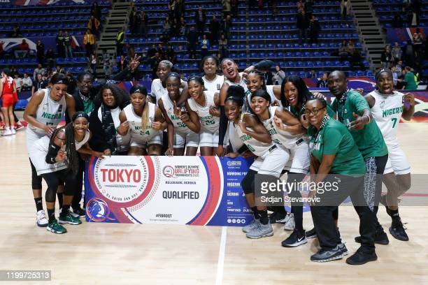 Players and team members of Nigeria celebrate after winning ticket for Olympic games in Tokio after the FIBA Women's Olympic Qualifying Tournament...
