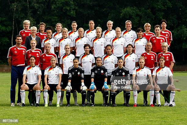 Players and team members of the German women national soccer team head coach Silvia Neid coach Ulrike Ballweg Martina Mueller Sonja Fuss Inka Grings...