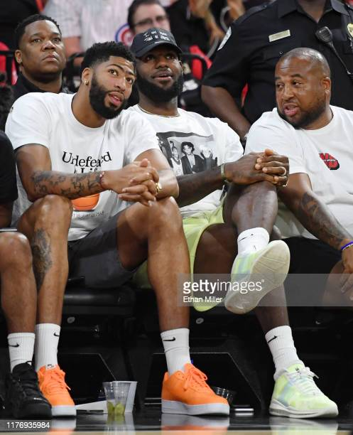 NBA players Anthony Davis and LeBron James of the Los Angeles Lakers and Lakers Executive Administrator Player Programs and Logistics Randy Mims...
