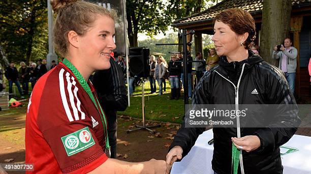 Players are honored by Maren Meinert after the U18 Girl's Federal Cup at Sport School Wedau on October 4 2015 in Duisburg Germany