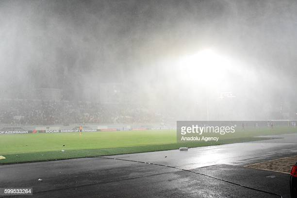 Players are in action during 2018 FIFA World Cup Qualifying match between Albania and Macedonia at Loro Borici Stadium in Shkoder Albania on...