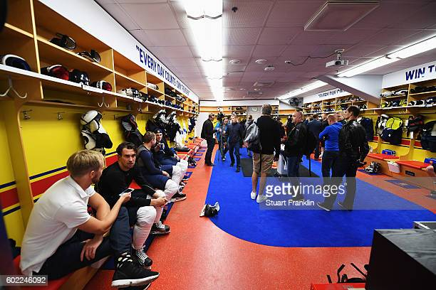 Players are interviewed after practice for Team Finland at the Hartwell Areena on September 7 2016 in Helsinki Finland