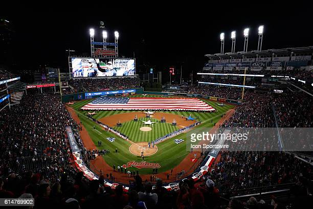 Players are introduced before the game against the Toronto Blue Jays and the Cleveland Indians at Progressive Field in Cleveland OH