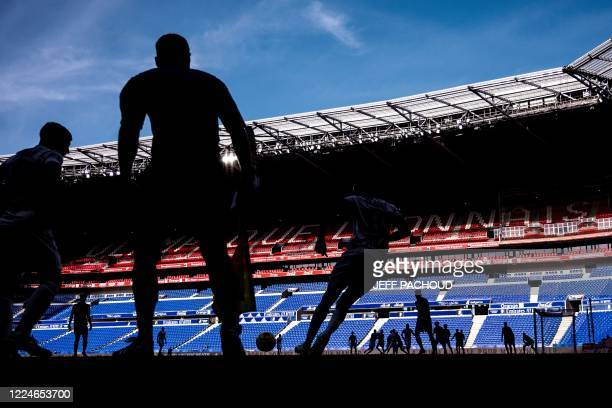 TOPSHOT Players are pictured during the French friendly football match Olympique Lyonnais vs OGC Nice at the Groupama stadium in DecinesCharpieu...