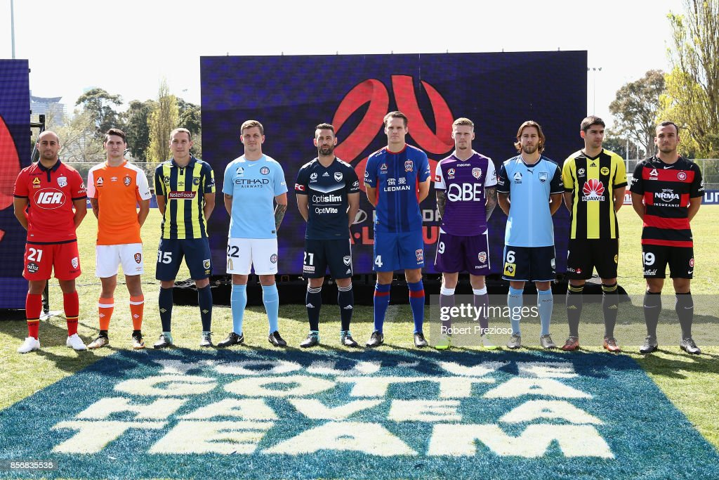 Players are presented during the 2017/18 A-League Season Launch at Port Melbourne SC on October 3, 2017 in Melbourne, Australia.