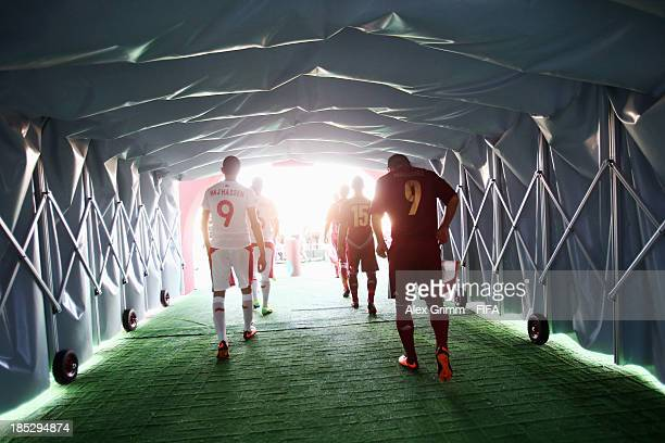 Players are ready to enter the pitch prior to the FIFA U17 World Cup UAE 2013 Group D match between Tunisia and Venezuala at Sharjah Stadium on...