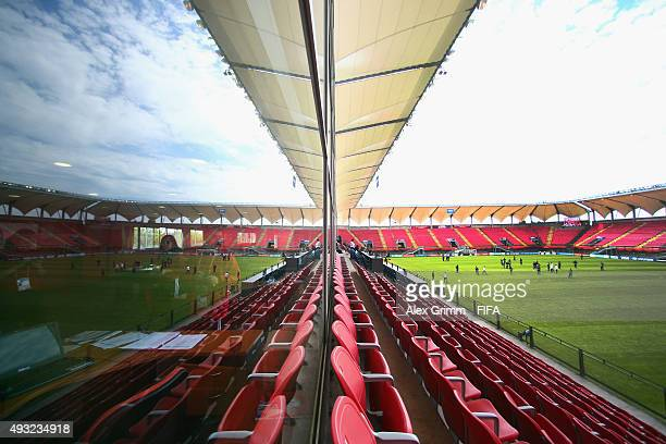 Players are reflected in a window as they inspect the pitch prior to the FIFA U17 World Cup Chile 2015 Group C match between Australia and Germany at...