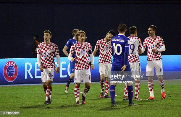 Players are seen after the FIFA 2018 World Cup Qualifier Group I match between Croatia and Iceland at Maksimir Stadium in Zagreb Croatia on November...