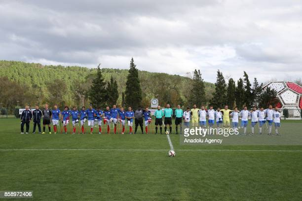 Players are seen ahead of the European Amputee Football Federation European Championship match between France and Italy at the Hasan Dogan National...